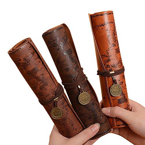 nikgic 3PCS Bundle Pen Bag PU Leder Faltbare Roll Up Federmäppchen Halterung Stationery Tasche Organizer (Dark Coffee Dunkelbraun Hellbraun) Pen Bundle