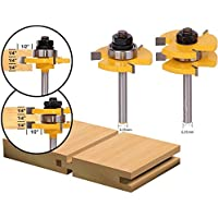 godbless Router Bits Fresa Juego 3dientes ajustable de machihembrado Juego para graviermaschine trimmmasc (Sunshine (2unidades)