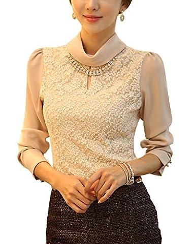 Minetome Women Blouse Lace Chiffon Lace Long Sleeve Slim Fit Turtleneck Ol Business Tops ( Beige UK 10/12 EU M )
