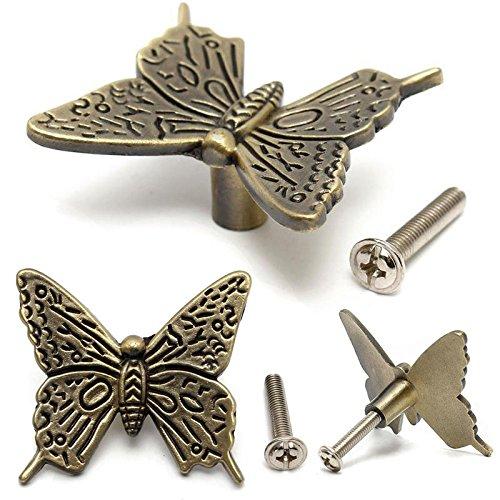 4 Tiradores cajon pomo vintage mariposa metal para armario restauracion muebles comoda alacenas cajones secreter de OPEN BUY