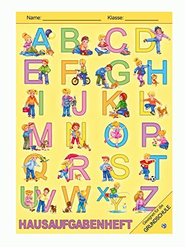 Trötsch Verlag  200923 - Hausaufgabenheft DIN A5 für die Grundschule, ABC Motiv, 96 Seiten, mit extra starkem Klarsichtumschlag