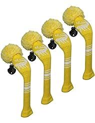 Scott Edward Housses de tête de club de golf hybride/utilitaires, 4 pièces emballées, motif cerf en tricot, fil Acrylique Double-layers en tricot, avec rotatif Nombre balises, 3 couleurs (blanc/noir/jaune) en option, jaune