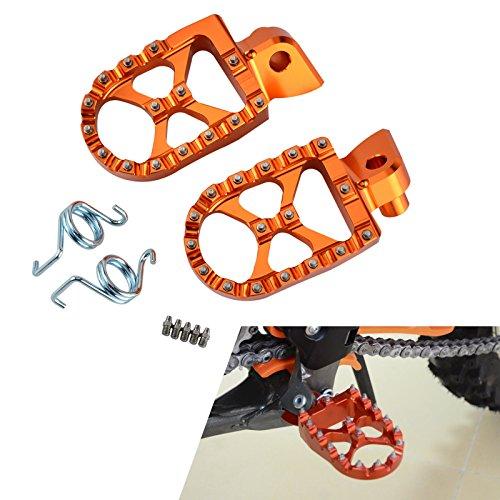 H2Racing Orange Motorräder Fußrasten Ruhepedale Fußrasten Pedale für 85 SX 2003-2017,250 SX,950 Super Moto/R 2005-2008,125-530 EXC/EXC-F 98-16,125 SX,250-450 SX-F 98-15,(Nicht passend 690 SMC 2008)