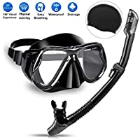 Charlemain Dry Snorkel Set, Snorkeling Diving Mask, Diving Goggles Mask with 180° HD Panoramic View, Anti-Fog and Anti-Leakage Professional Snorkeling Breathing Tube for Adult