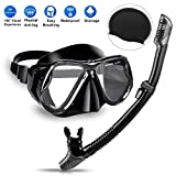 Charlemain Dry Snorkel Set, Snorkeling Diving Mask, Diving Goggles Mask with 180° HD