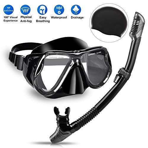 Charlemain Masque De Plongée,Masque Snorkeling Vue Panoramique HD avec TubaPlongée,Professionnel Anti-Buée Et Anti-Fuite,Ajustable Masque Plongee pour Adultes