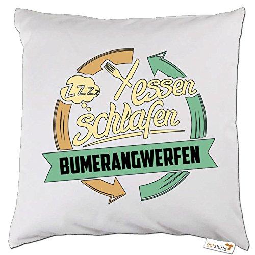 getshirts - RAHMENLOS® Geschenke - Kissen - Sport Bumerangwerfen - weiss uni