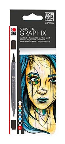 Marabu 0145000000103 - Aqua Pen Graphix, Metropolitan, Aquarellfilzstifte mit brillanter Farbe, wasserbasierte Tusche, Doppelspitze, aquarellierbar auf Aquarellpapier, Set 6 Stifte sort. Farben