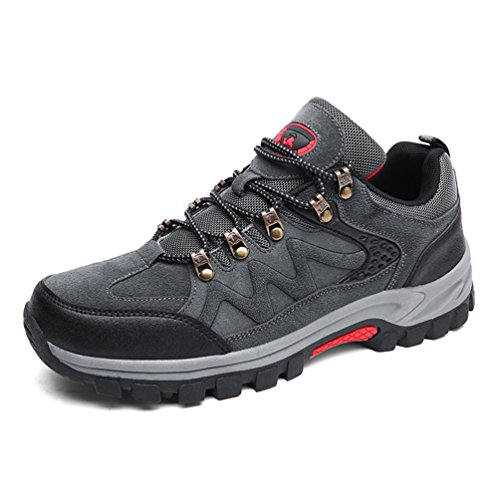 Dexuntong Herren Wanderschuhe Trekking Schuhe Outdoor Hiking Sneaker Rutschfest Bergstiefel Arbeitsschuhe Grün Grau39-47