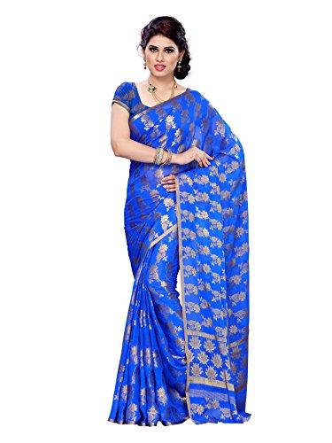Mimosa Women Kanchipuram Chiffon Artificial silk Saree With Plain Blouse (blu ,3171-C6-Rblu)