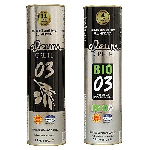 1 x 1000ml Oleum Crete 03 Bio (7 Taste Awards) und 1 x 1000ml Oleum Crete 03 (16 Taste Awards).
