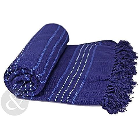 Just Contempo - Copriletto/copridivano termico, 100% in cotone tessuto, di lusso, 100% Cotone, Navy ( blu scuro ), Doppio