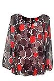 Moda Italia Damen Bluse Aus Chiffon in Carmen Style mit Polka Dots Tupfen Elegante Pump Ballonbluse Mehrfarbig 40 42 44