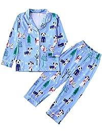 Hffan Damen Herren Baby Welpe Drucken Weihnachtspyjamas Eltern-Kind-Anzug Eltern-Kind-Schlafanzug Kleid Junge Mädchen Langarm Weihnachten Pyjamas