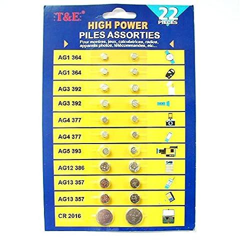 1 Set Knopfbatterien 22 Knopfzellen Batterie Batterien vers. Größen für