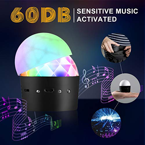 Discokugel, Cobiz discolicht, Musikgesteuert Discolicht Partylicht mit 3W RGB 3 Led,MINI Tragbar Wiederaufladbar Partykugel Discolicht Für Kinder, Party usw. - Rot-glas-tisch-lampe