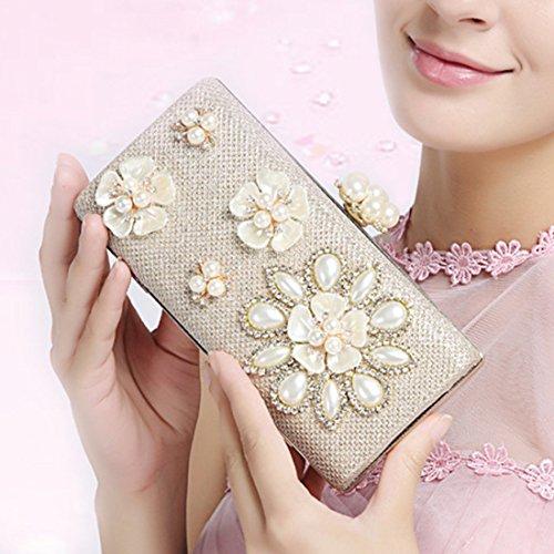 YYW Pearl Clutch Bag, Poschette giorno donna Silver