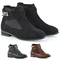 ESSEX GLAM Womens Chelsea Pull On Low Block Heel Ladies Elastic Buckle Pixie Ankle Boots