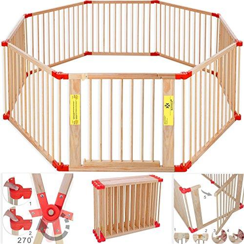 Kesser 7,2 Meter Laufgitter XXL klappbar, Bestehend aus 8 Elementen, inkl. Tür, Laufgitter Individuell formbar Laufstall Absperrgitter, Erweiterbar, Farbe:Rot