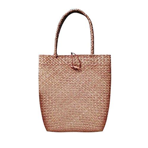 Amuele Frauen Stroh handrattan Weben Tote Strand Reise Urlaub Shopping Bag Schulter Geflecht Handtasche (Bulk Personalisierte Tragetaschen)
