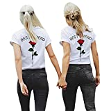Urban Kingz 2X Damen T-Shirt - Best Friends BFF Rose, XXL + XXL, Rote Rose - Weiß