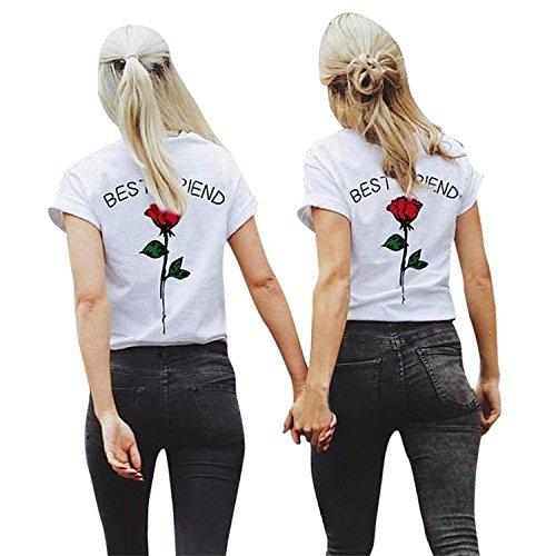 2X Damen T-Shirt - Best Friends BFF Rose, XS + XS, Rote Rose - Weiß