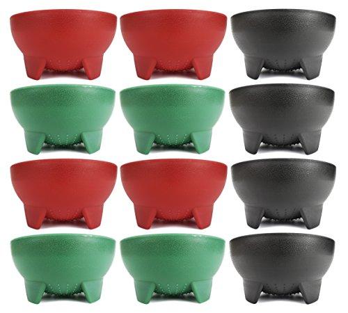 Set von 6grün schwarz Ente Marke 11,4cm Durchmesser Salsa Schalen Black, Green, Red