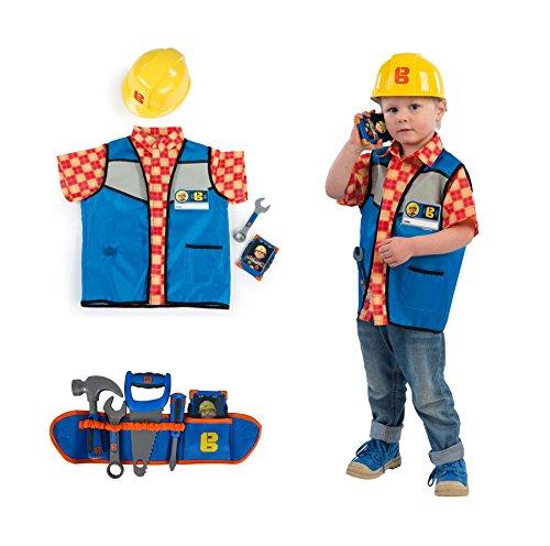 Helm Kostüm Bob - Ideal Smoby Bob der Baumeister Set Werkzeuggürtel mit Handwerker Outfit Werkzeug Helm