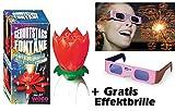 Geburtstagsfontäne Blume mit Musik + GRATIS Effektbrille Happy Birthday