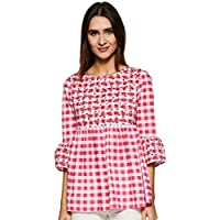 Styleville.in Women's Check flared top (STSF401610-Pink-M)