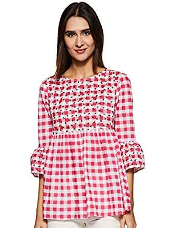 Styleville.in Women's Check Flared top (STSF401610-Pink-S)