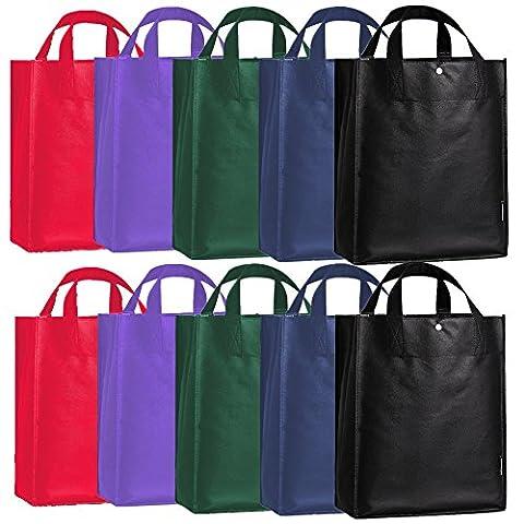 Oricsson réutilisable épicerie de stockage de grande capacité Shopping Sac fourre-tout avec bouton-pression, 10paquets, 5 Color Variety, OU