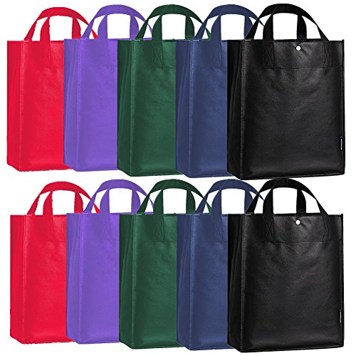 oricsson-10-pack-recycled-polypropylene-reusable-grocery-shopping-bag-with-snap-button-5-color-varie