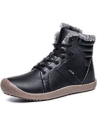 Herren Damen Winterschuhe Warm Gefüttert Winterstiefel Leder Wasserdicht Schneestiefel Outdoor Winter Boots Schnür Kurz Stiefel