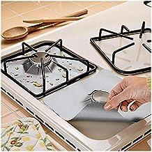 Protectores de Estufa Quemadores Gas Protectores Estufa Protectores - Reutilizable, Antiadherente, Apto para lavavajillas - Almohadilla de Protección de Gas, Estufa de Gas Quemador, Clean Sheet Liner Mat - 4 Piezas