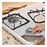 """4-Pack Gas Range Protectors - Silver/Grey Gas Stove Burner Protector Liner Cover Clean Mat Pad - Reusable, Non-Stick, Dishwasher Safe, Easy to Clean - FDA Approved,10.6"""" x 10.6"""""""