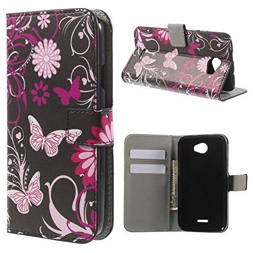 König-Shop Handy-Hülle für Wiko Darknight Schutzhülle Schutztasche Wallet Tasche Case Cover Etui Schale Handyschale Handytasche mit Standfunktion Schmetterlinge