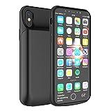 iPhone X Akku Hülle LifeePro 6000mAh Ultra Dünn Externer Akku Case Aufladbar Batterie Ladehülle Integrierten Ersatzakku Ladegerät Power Bank Backup Extra Pack Schutzhülle für iPhone X Schwarz 1