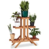 Relaxdays flores escalera Rack con 3niveles, de madera, diseño de flores, función atril para Interior, Varios Niveles, HxWxD: ca 82,5x 83x 28,5cm), color marrón claro