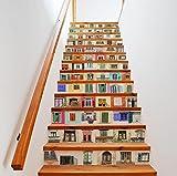 TIEZHI Design unique Art Autocollants pour escaliers Simulation Fenêtre colorée Fond d'écran Fashion Home Décoration européenne Peintures murales de bricolage Imperméable Auto-adhésif 1Set 13pcs