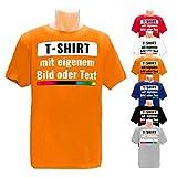 PixiPrints.com T-Shirt mit eigenem Foto Text Logo Name Selbst Gestalten * Ringgesponnene Baumwolle * vollfarbig Bedruckt * Viele Farben und Größen, Farbe:Orange, Größe:XL