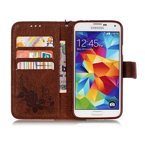 Etsue Samsung Galaxy S5 Coque,Flip PU Cuir Etui Avec Magnétique Bouton pour Samsung Galaxy S5,Papillon Motif Cover Folio Portefeuille Coque Housse Avec Cordon de Transport Étui pour Samsung Galaxy S5, Papillon Marron
