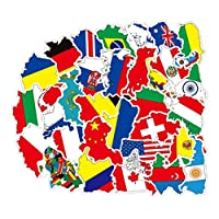 NUOBESTY National Flag Stickers,50 Pcs Country Flag Decals for Laptop Car Suitcase Travel Luggage Helmet Skateboard Decals