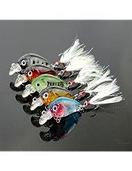 BNTTEAM 5pcs 4.5cm 3.5g lleva pescados gordo la mini pesca de la manivela señala el cebo duro Crankbait Multi la abundancia artificial del agua del cebo de calidad superior