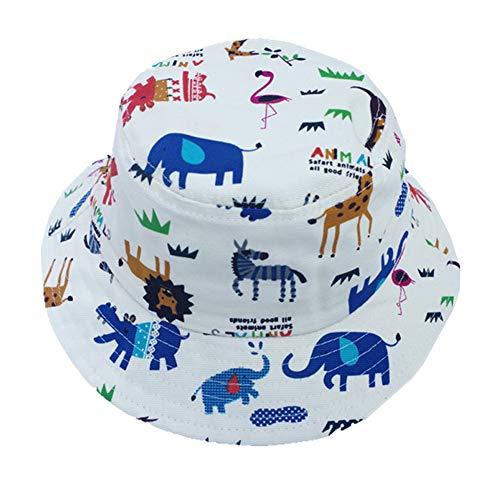 Rolcheleego - Sombrero Pescador Bebé Playa Verano Proteeción del Sol al Aire Libre Gorra de Cubo Niña de Algodón Bucket Hat Reversible - Elefante