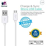 Digishopi™ Universal Micro-USB To USB 2.0 Premium Quality 2.1Amps Fast Charging & Data Sync Round V8 (1M/3.3ft) Long Data Cable With High Speeds Up To 480Mbps - White