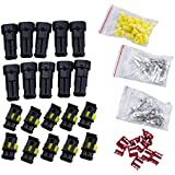 SODIAL(R) 10 Kit 2 Pin Way Waterproof Electrical Wire Connector Plug