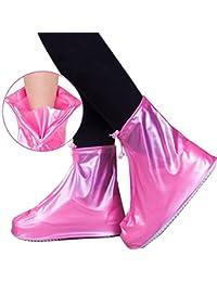 Pawaca Cubierta impermeable para zapatos, reutilizable, protección para la lluvia, zapatos de nieve, antideslizante, para mujeres, hombres, niños y niñas, rosa, Small