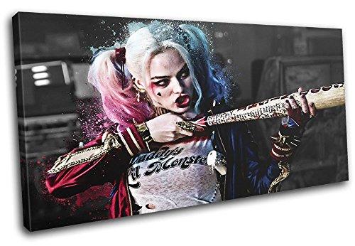 (Bold Bloc Design - Suicide Squad Harley Quinn Movie Greats 120x60cm SINGLE Leinwand Kunstdruck Box gerahmte Bild Wand hangen - handgefertigt In Grossbritannien - gerahmt und bereit zum Aufhangen - Canvas Art Print)