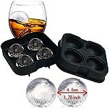 Ice Ball Mold Sphere - Cubitera de silicona para hielos esféricos (4 x 4,5 cm, perfecto para whisky, cóctel y cualquier bebida)